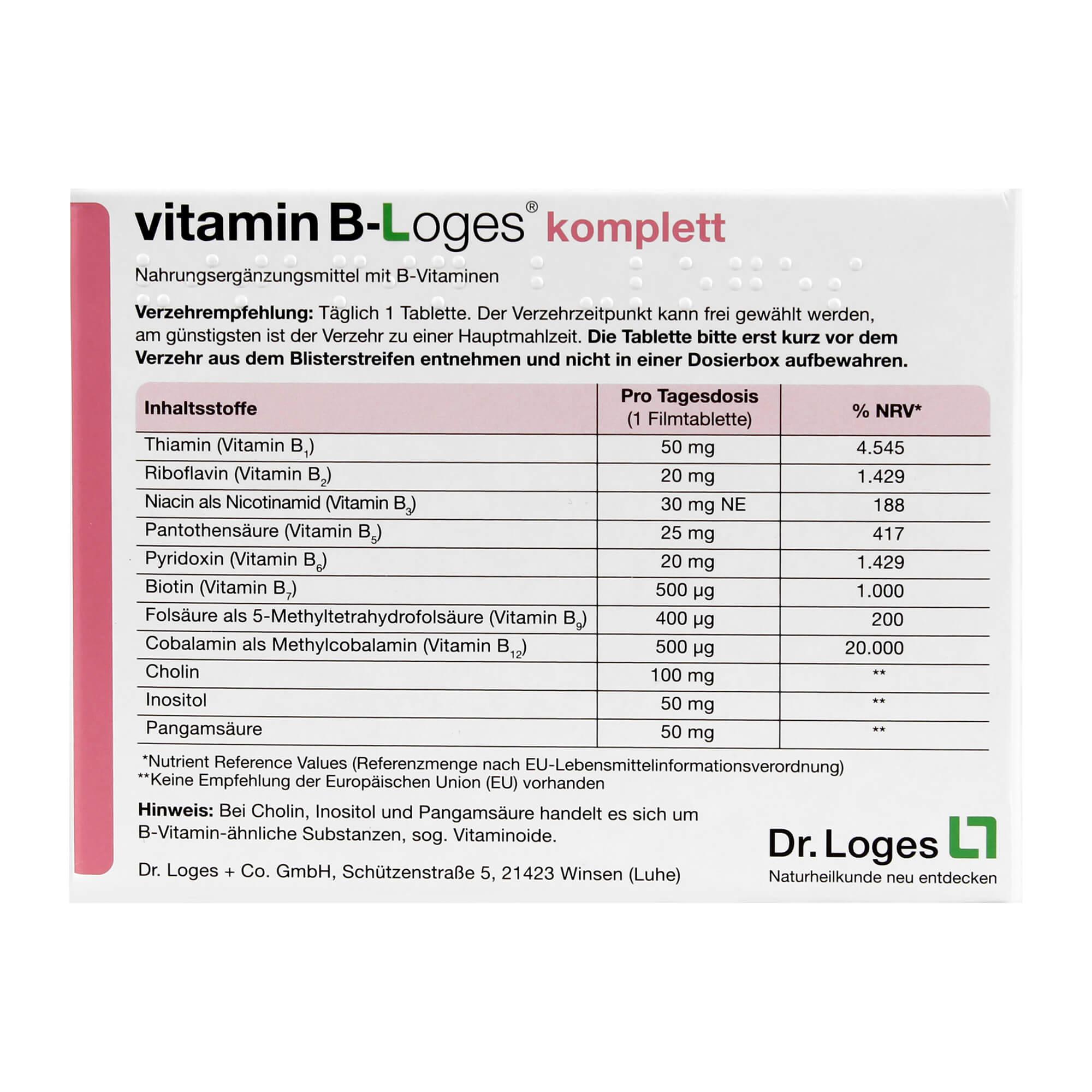 VITAMIN B-LOGES KOMPLETT, 60 St | Arzneimittel-Datenbank